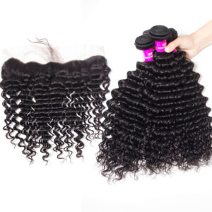 tinashe hair deep wave bundles with frontal