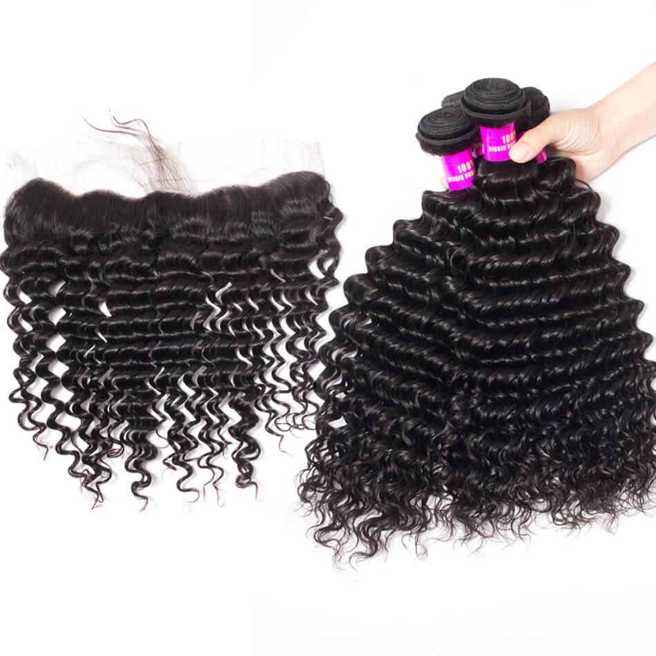 tinashe hair deep wave bundles with frontal