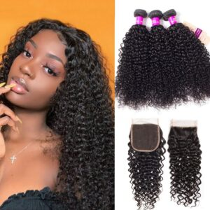 brazilian curly hair 3 bundles with frontal