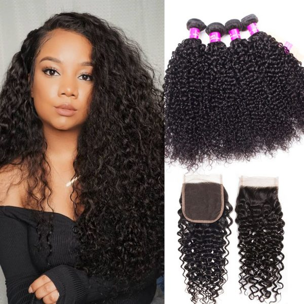 brazilian curly hair 4 bundles with closure