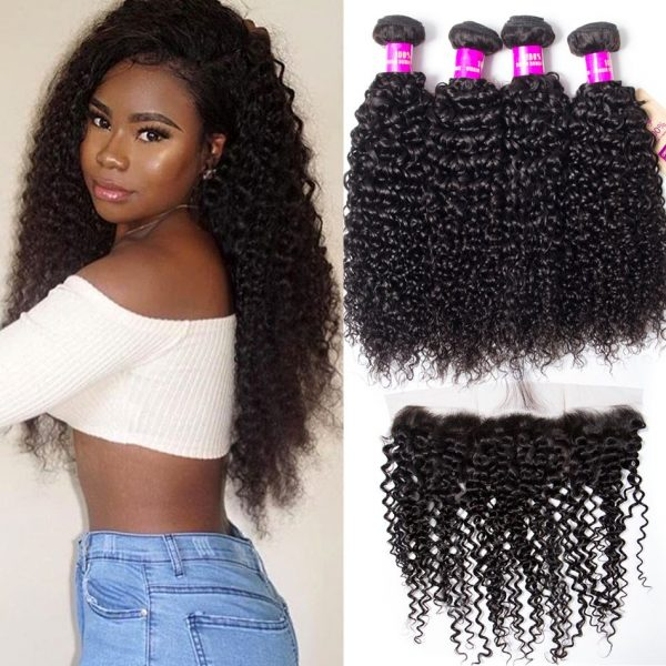 brazilian curly hair 4 bundles with frontal