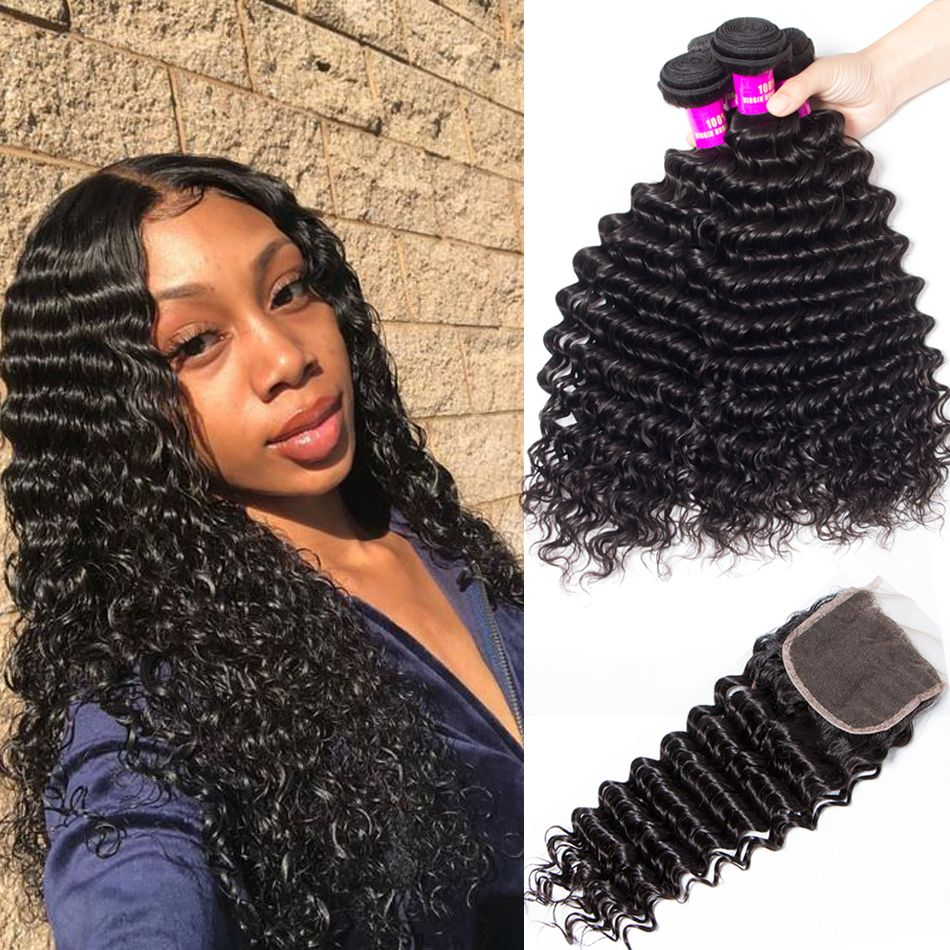brazilian deep wave 4 bundles with closure