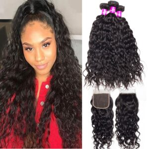 tinashe hair brazilian water wave 3 bundles with closure