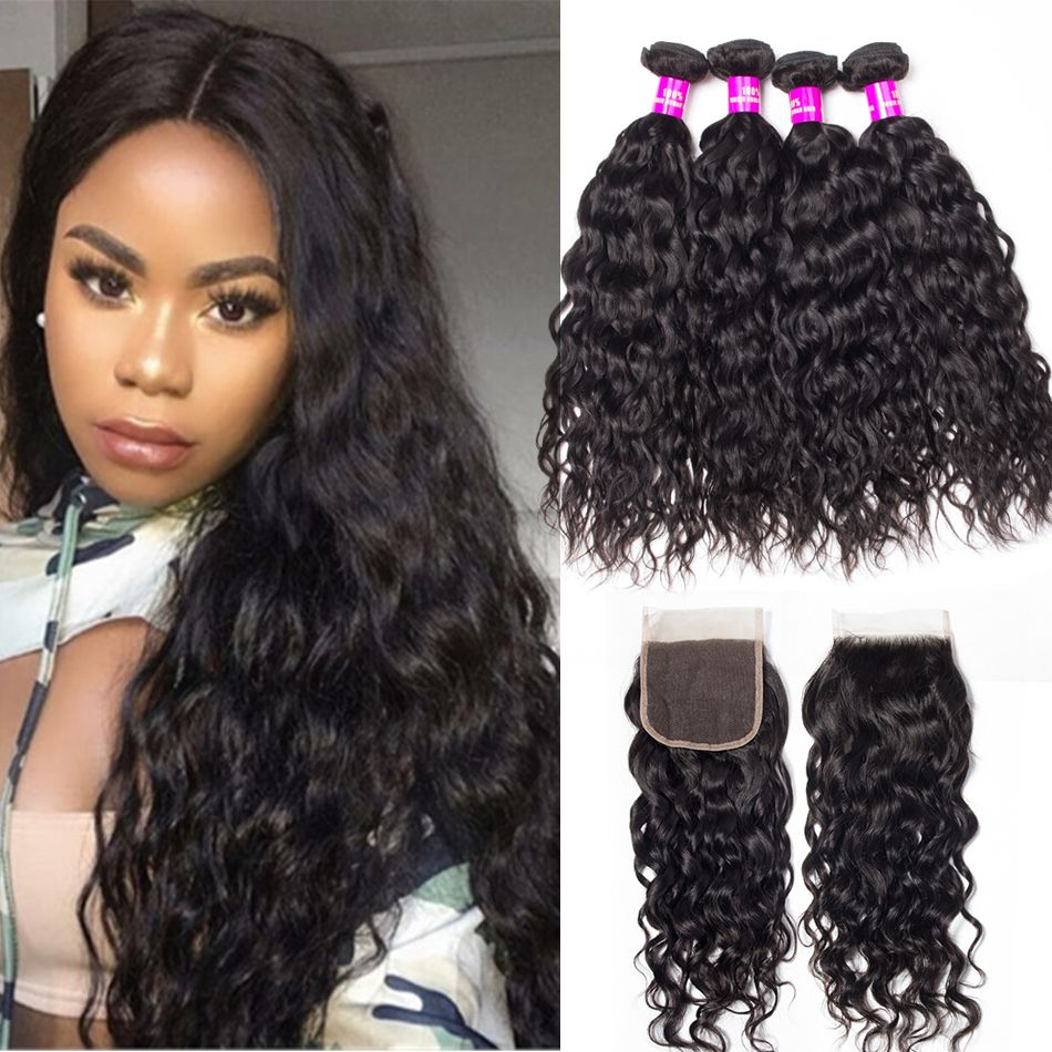 tinashe hair brazilian water wave 4 bundles with closure