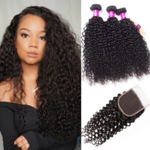 Peruvian curly hair 3 bundles with closure