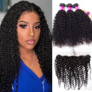 Peruvian curly hair 3 bundles with frontal