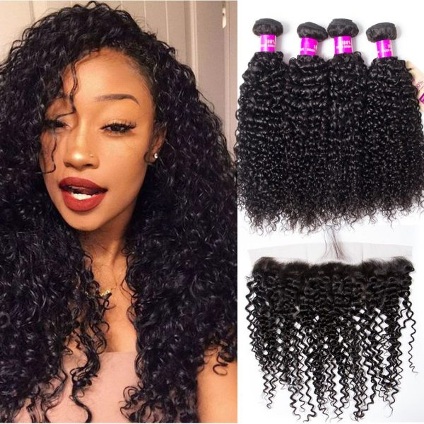 Peruvian curly hair 4 bundles with frontal