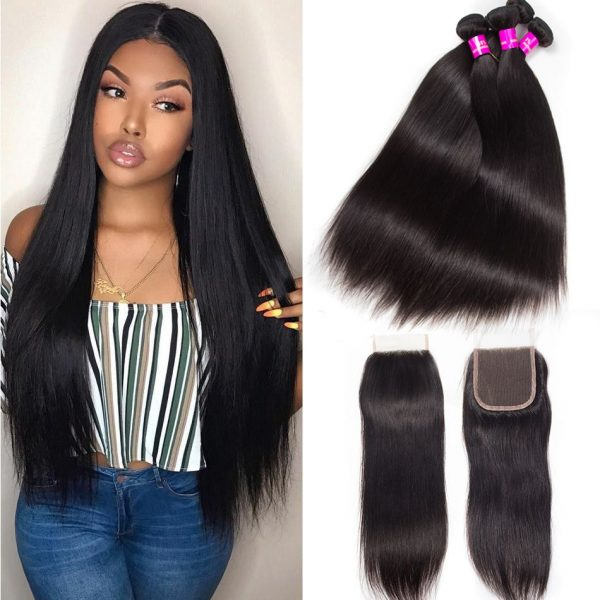 Peruvian straight hair 4 bundles with closure
