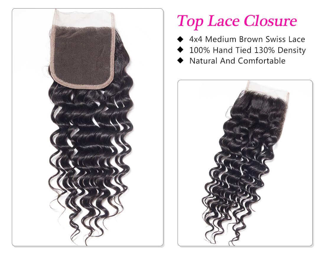 deep wave lace closure hair extension