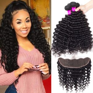 peruvian deep wave 4 bundles with frontal