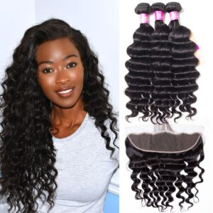 peruvian loose deep 3 bundles with frontal