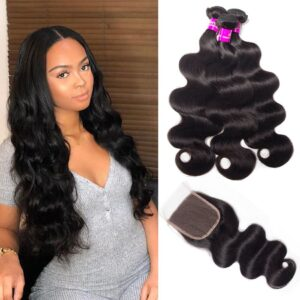 tinashe hair Pervian body wave 3 bundles with closure