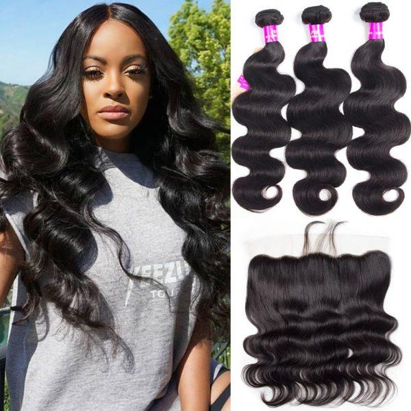 tinashe hair body wave 3 bundles with fronta;