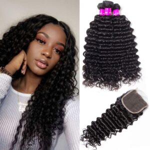 tinashe hair peruvian deep wave 3 bundles with closure