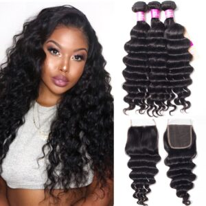 tinashe hair peruvian loose deep 3 bundles with closure