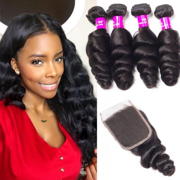 tinashe hair peruvian loose wave 4 bundles with closure