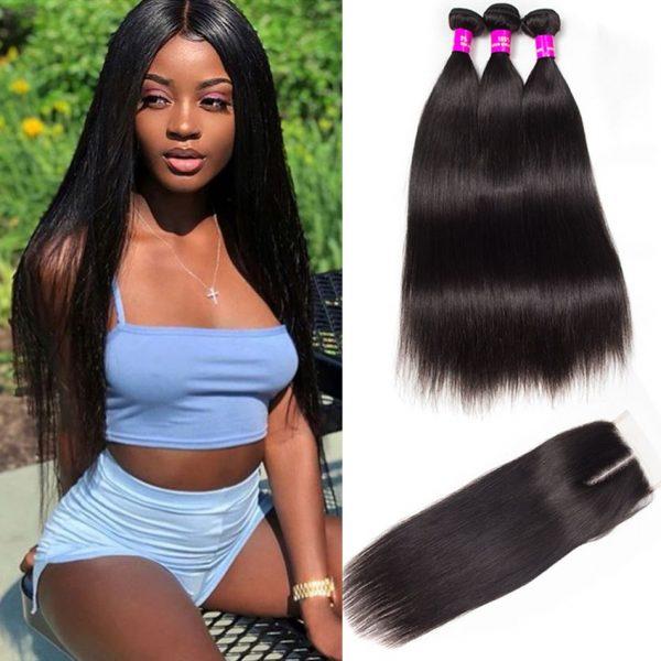 tinashe hair peruvian straight 3 bundles with closure