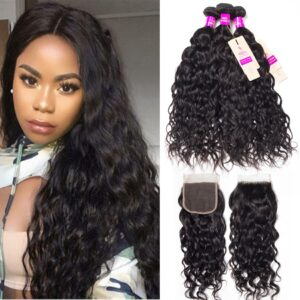 tinashe hair peruvian water wave 3 bundles with closure