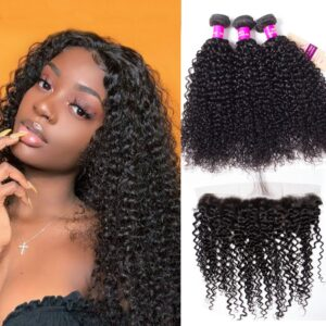 Malaysian curly hair 3 bundles with frontal