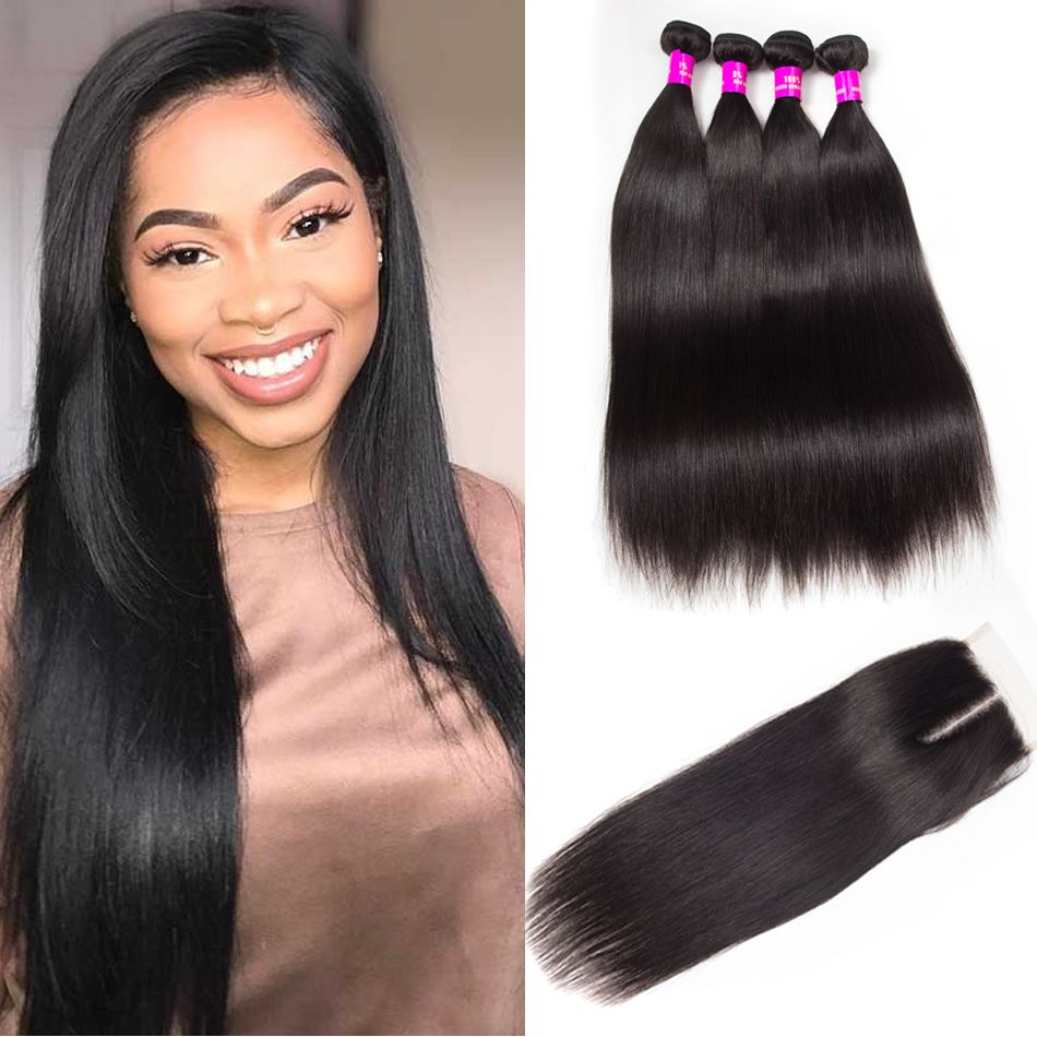 Tinashe hair Malaysian straight hair 4 bundles with closure
