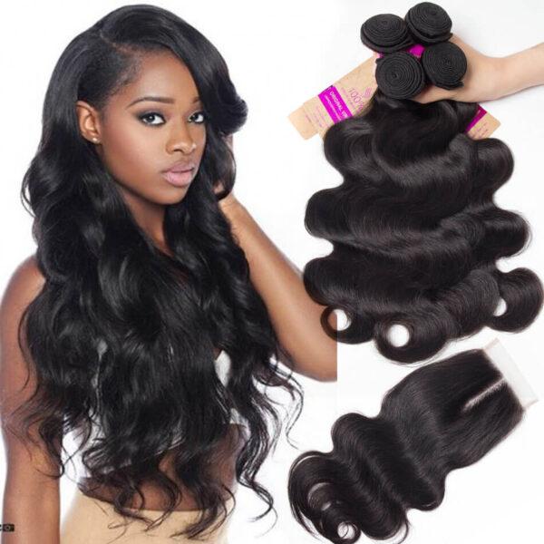 tinashe hair body wave 4 bundles with closure