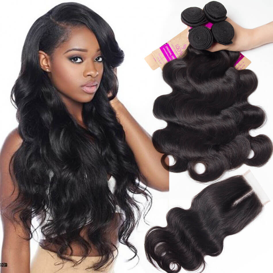 malaysian body wave 4 bundles with closure