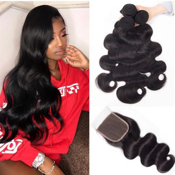 tinashe hair Malaysian body wave 3 bundles with closure