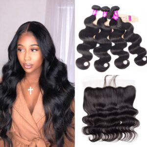 tinashe hair Malaysian body wave 4 bundles with frontal