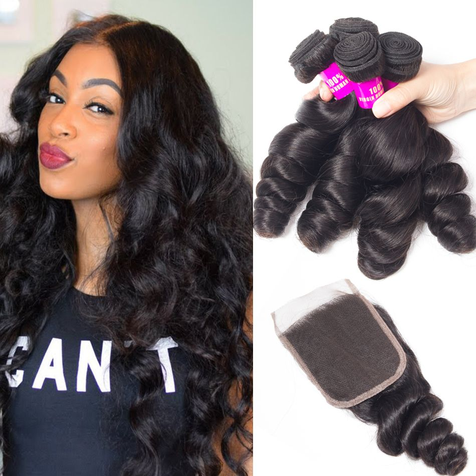 tinashe hair loose wave 4 bundles with closure