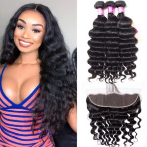 tinashe hair malaysian loose deep 3 bundles with frontal