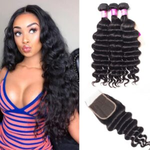 tinashe hair malaysian loose deep 3 bunldes with closure