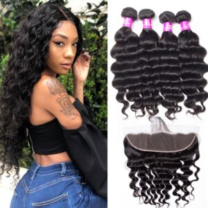 tinashe hair malaysian loose deep 4 bundles with frontal
