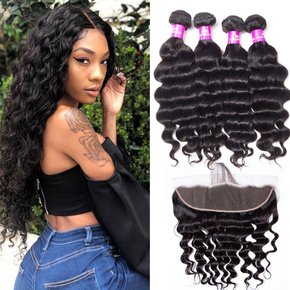tinashe hair malaysian loose deep 4 bundles with frontal