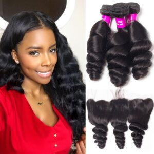 tinashe hair malaysian loose wave 3 bundles with frontal