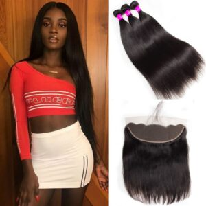 tinashe hair malaysian straight 3 bundles with frontal