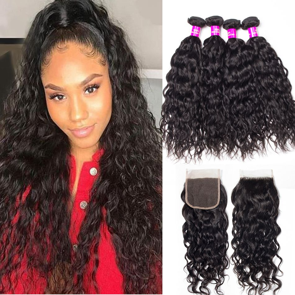 tinashe hair malaysian water wave 4 bundles with closure