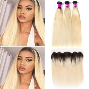 Tinashe hair ombre 1b 613 blonde straight 3 bundles with frontal