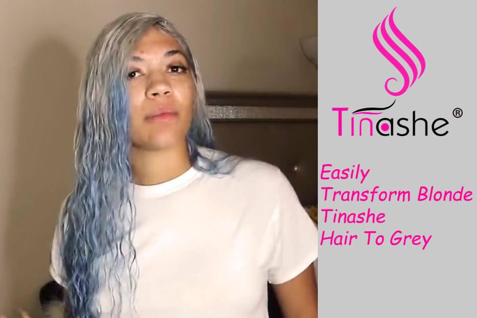 Easily transform blonde tinashe hair to grey