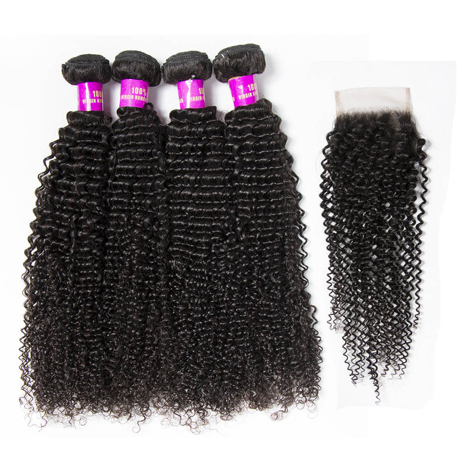 tinashe hair kinky curly bundles with closure (2)