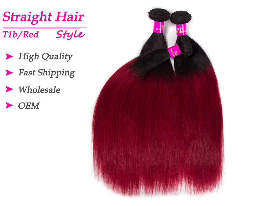 Tinashe hair ombre 1b/red straight human hair bundles