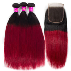 Tinashe hair 1b burgundy bundles with closure