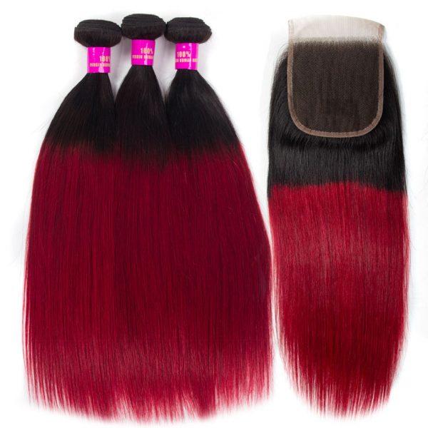Tinashe hair 1b burgundy bundles with closure