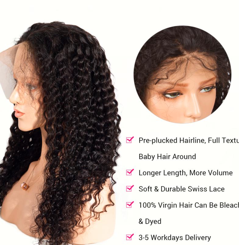 deep wave lace front wig details