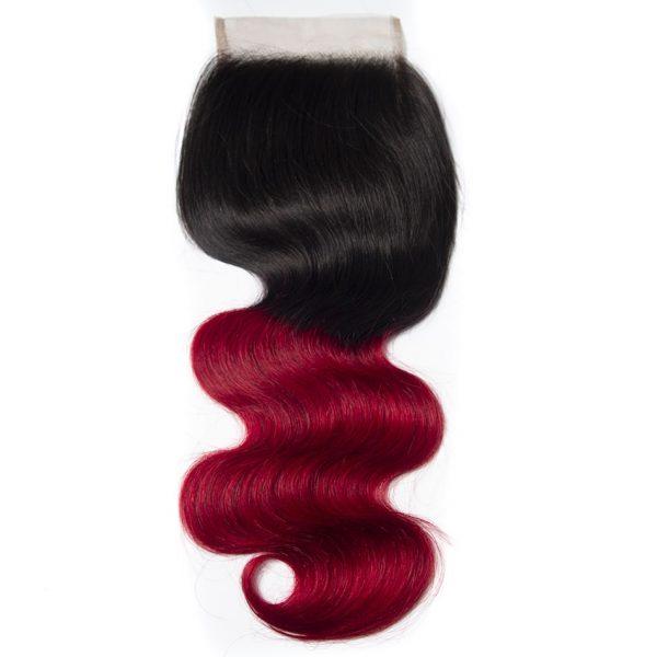 Tinashe hair 1b red body wave closure