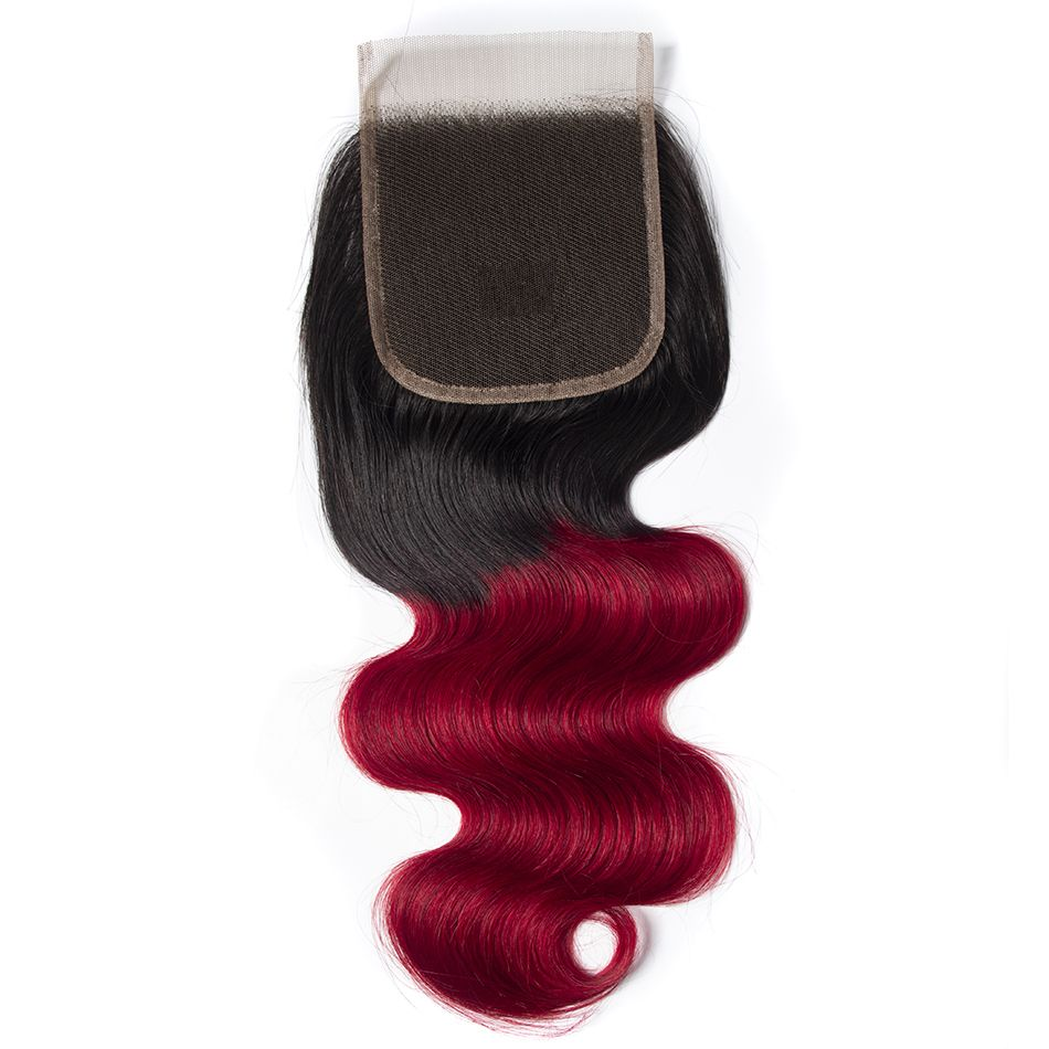 Tinashe hair 1b red body wave closure