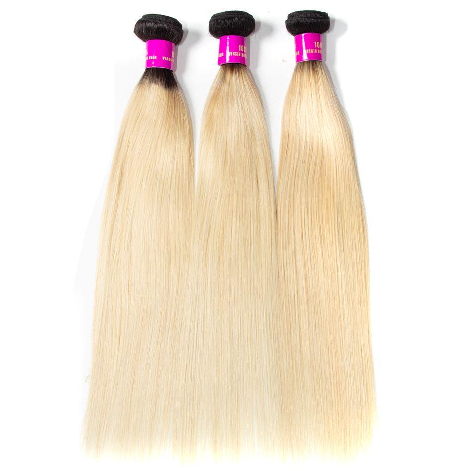 Tinashe hair ombre 1b 613 honey blonde straight hair bundles (3)