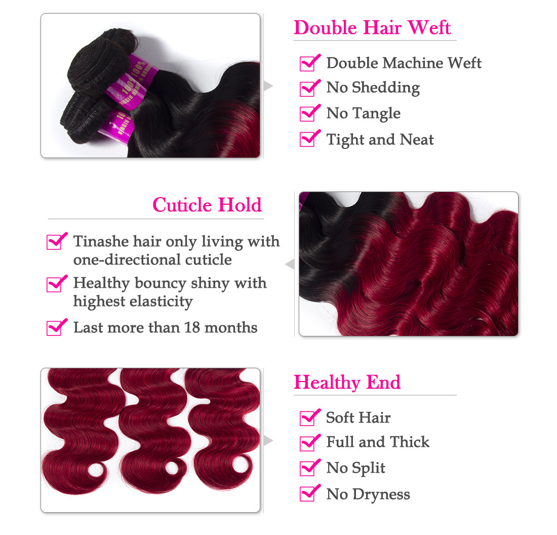 Tinashe hair 1b red Brazilian body wave bundles