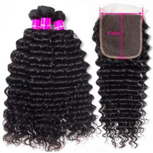 Tinashe hair deep wave 3 bundles with 5x5 lace closure