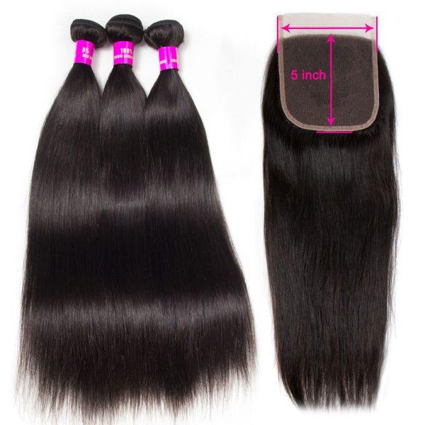 Tinashe hair straight hair bundles with 5x5 closure