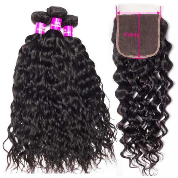 Tinashe hair water wave bundles with 5x5 lace closure